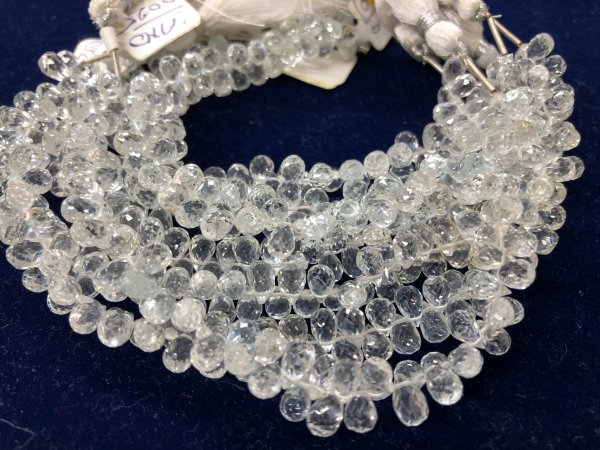 White Topaz Drops Faceted
