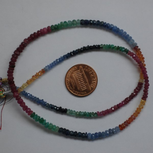 Multi Color Sapphire Rondelle Faceted