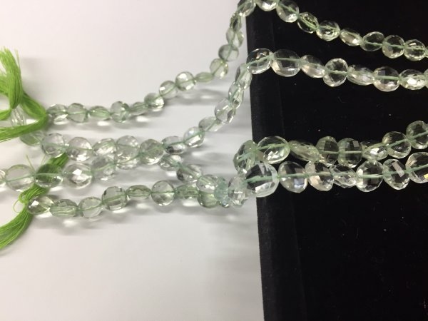 Green Amethyst Coin Faceted