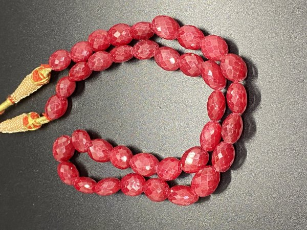 Ruby Ovals Faceted Dyed