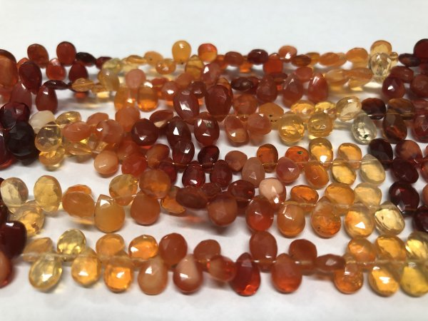 Fire Opal Pears Faceted