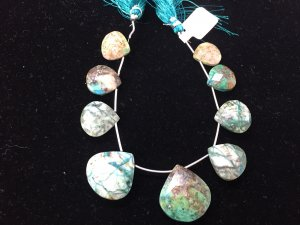 Chrysocolla Hearts Faceted