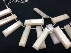 Cream Moonstone Rectangles Faceted