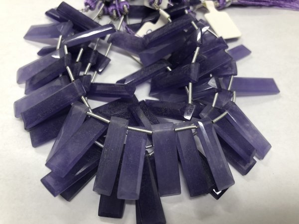 Purple Chalcedony Rectangles Faceted