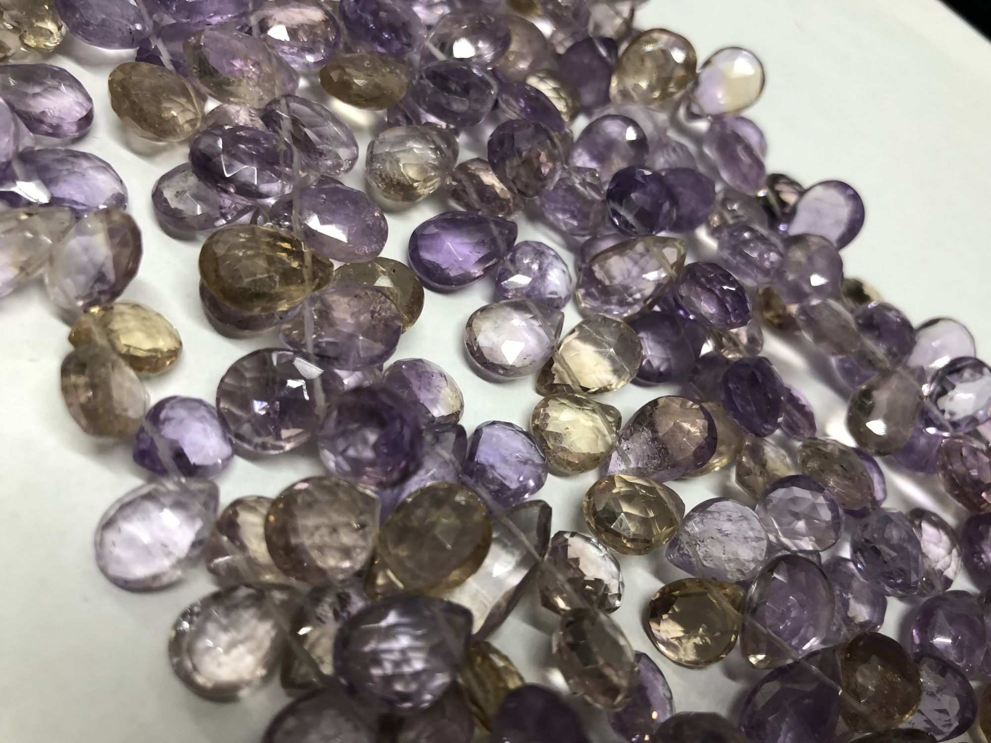 Ametrine Pears Faceted