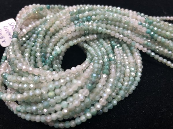 Shaded Green Onyx Rounds Faceted