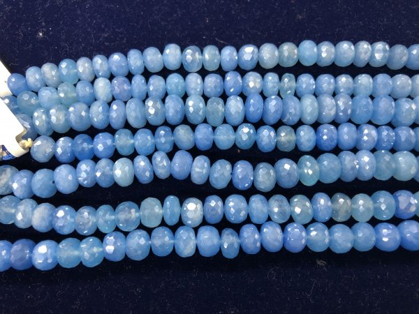 Coated Blue Chalcedony Rondelle  Faceted