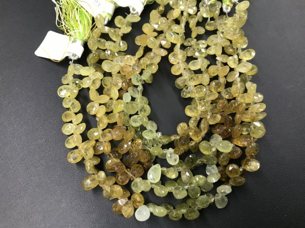 Green Grossular Garnet Pear Faceted
