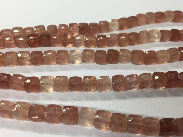 Strawberry Quartz Cubes Faceted