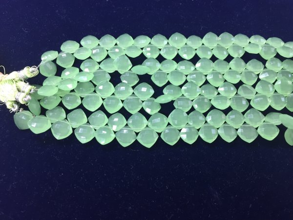 Green chalcedony cushion faceted