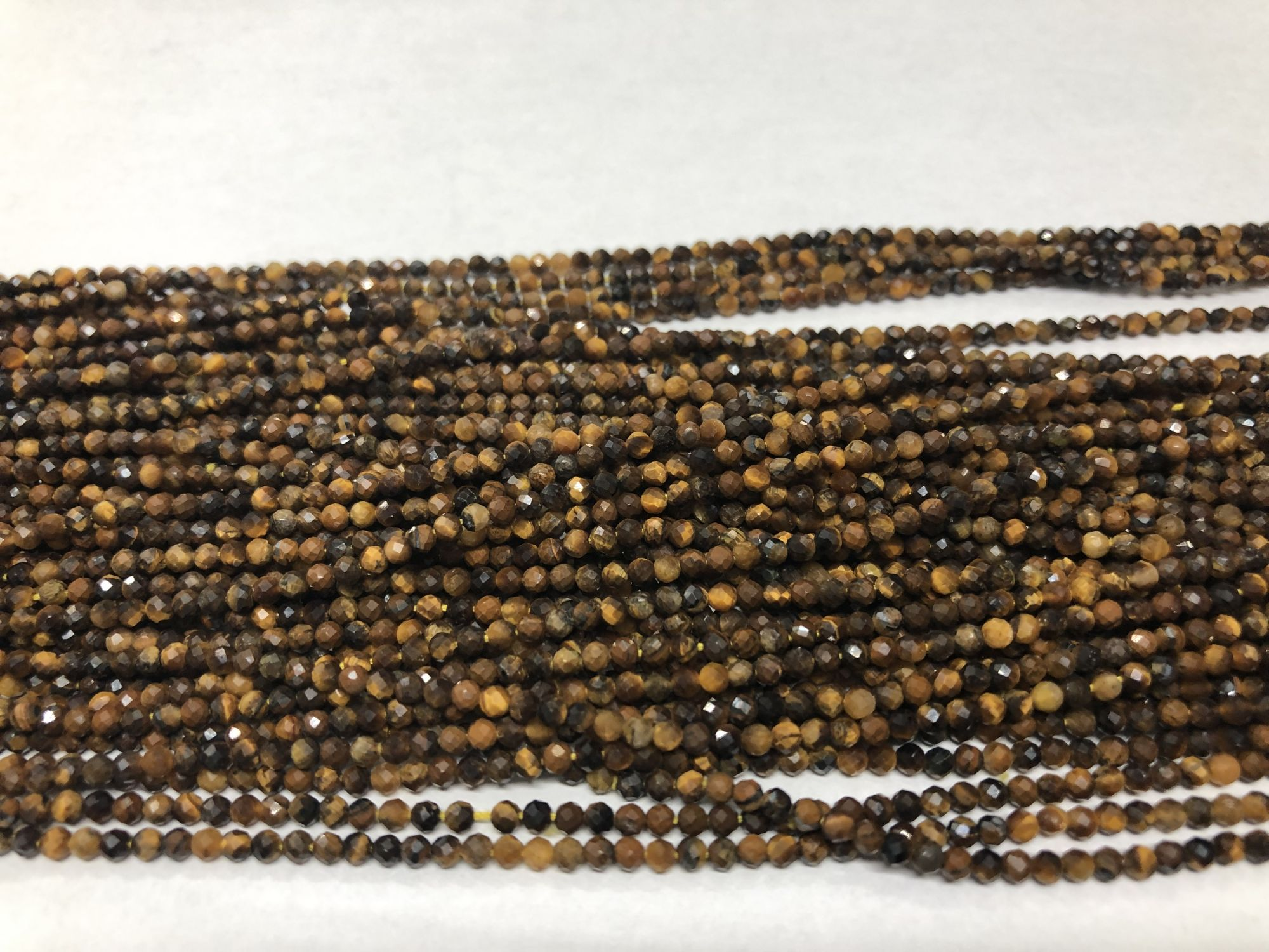 Brown Yellow Cats eye Round Faceted