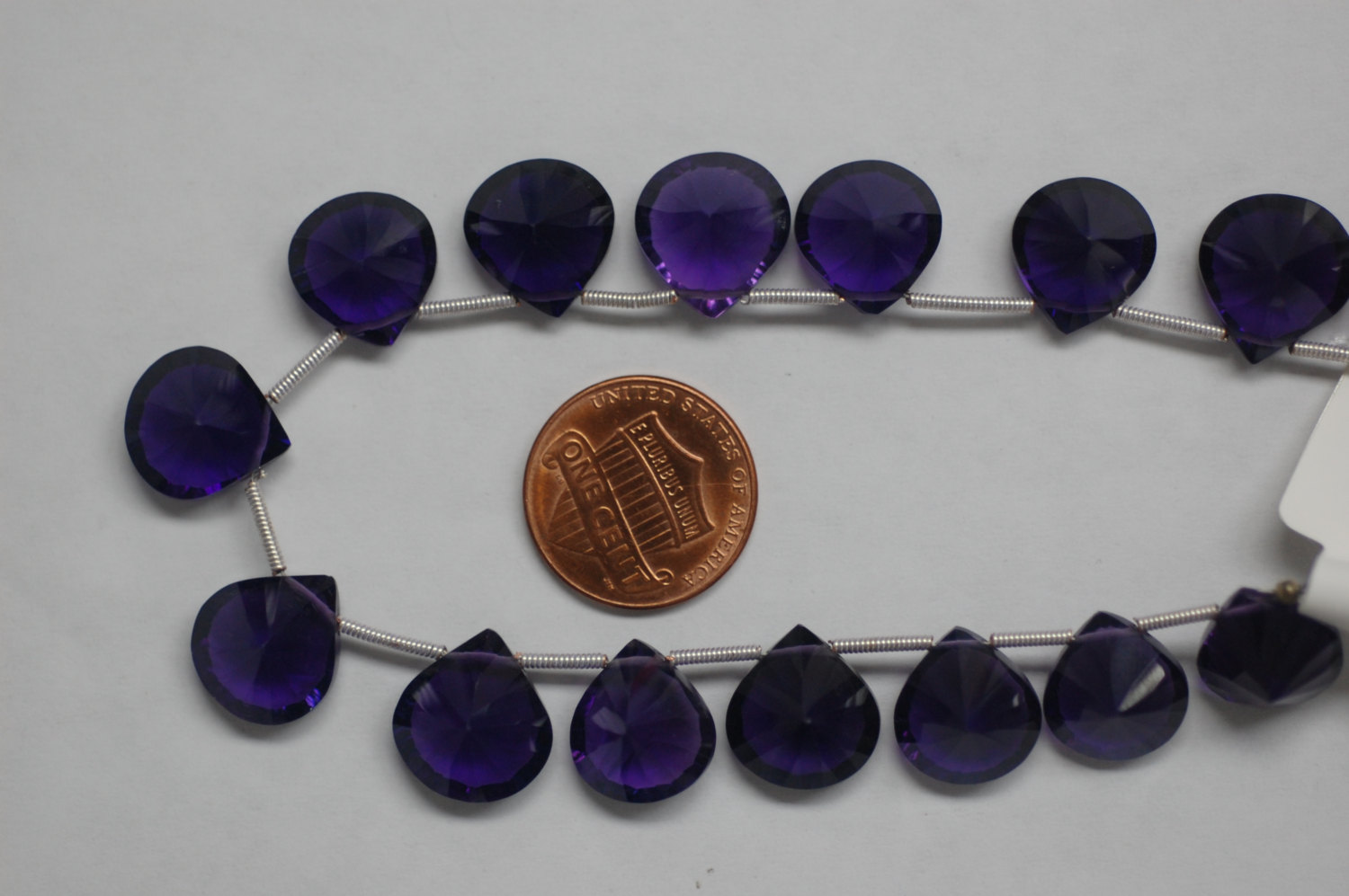 African Hydro Amethyst Concave / Checker Board Cut Hearts