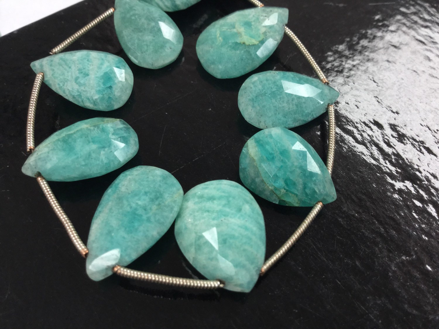 Amazonite Pears Faceted