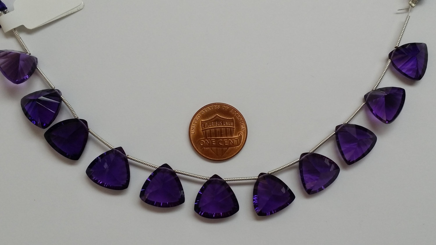 Amethyst Hydro Quartz Concave Cut Trillions Faceted