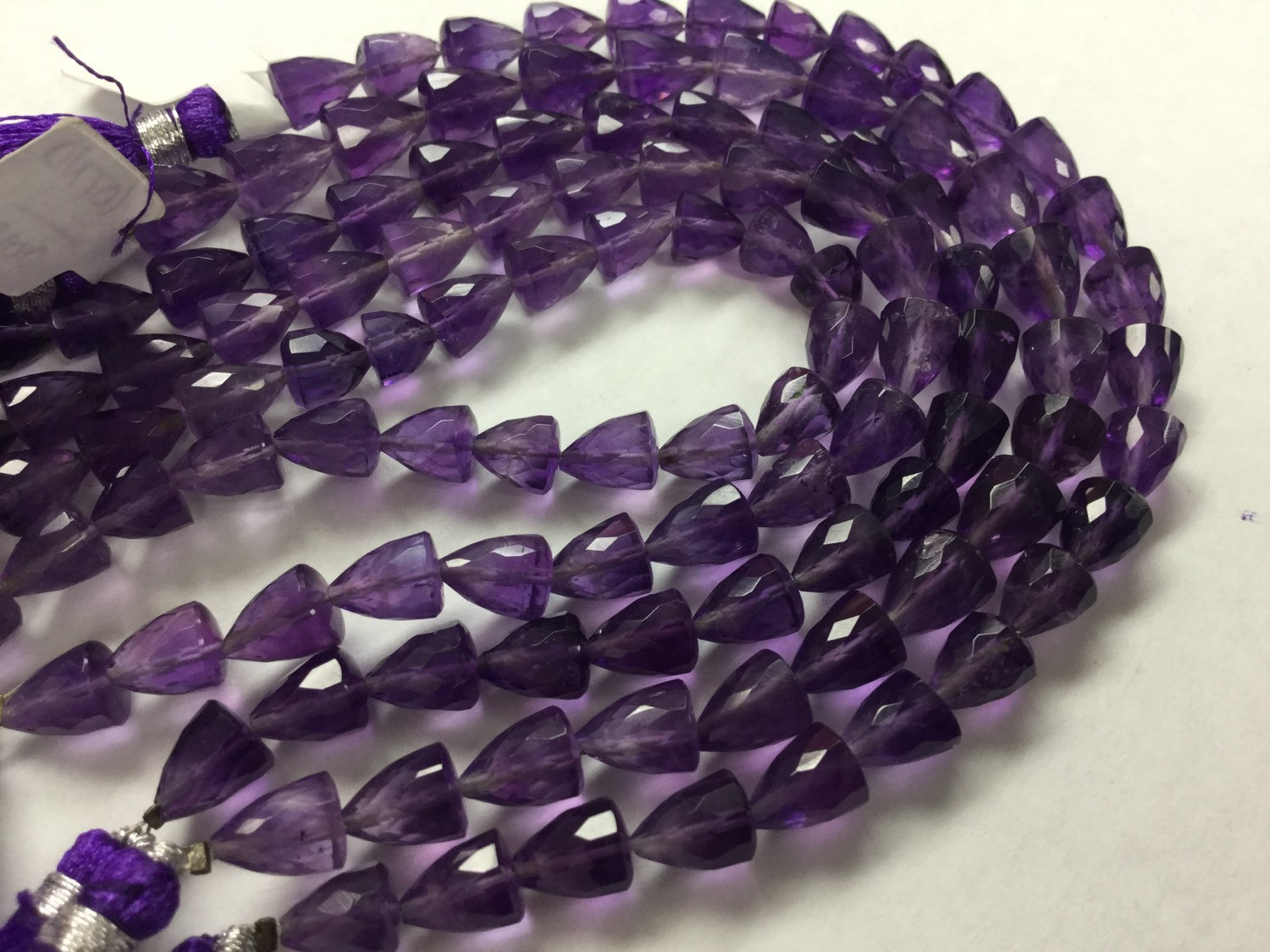 Amethyst Straight Drilled Trillions Faceted