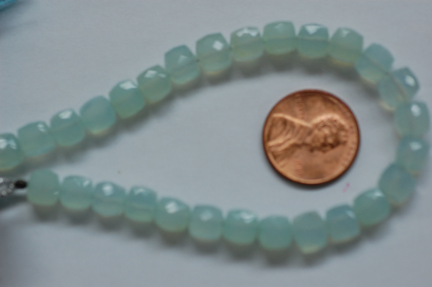 Aqua Chalcedony Cubes Faceted Heated