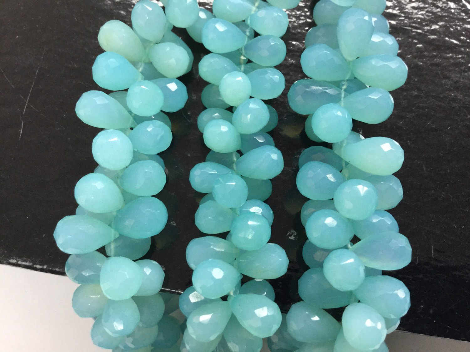 Aqua Chalcedony Drops Faceted