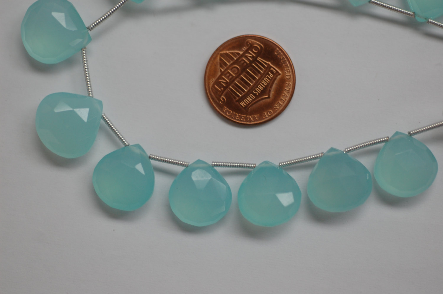 Aqua Chalcedony Heart Faceted