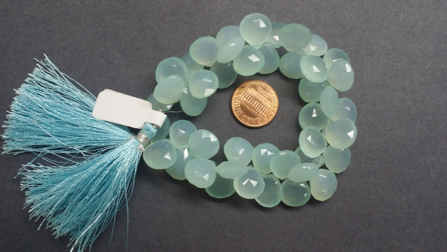 Aqua Chalcedony Hearts Faceted