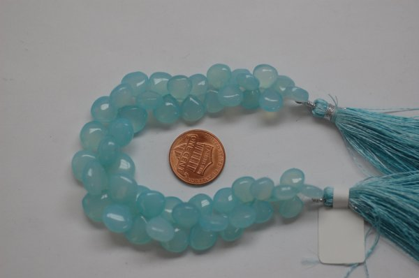 Aqua chalcedony Hearts Smooth (Graduated)