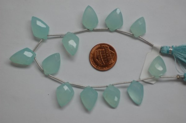 Aqua Chalcedony Leaf Shape Faceted