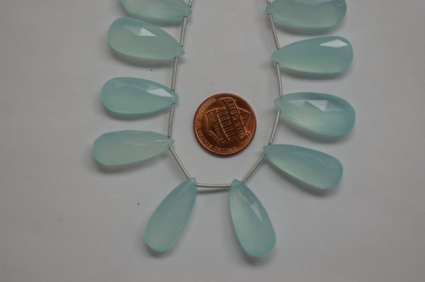 Aqua Chalcedony Long Pear Faceted