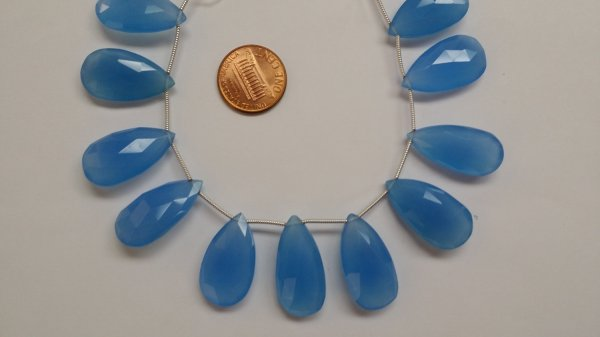 Aqua Chalcedony Pear Faceted