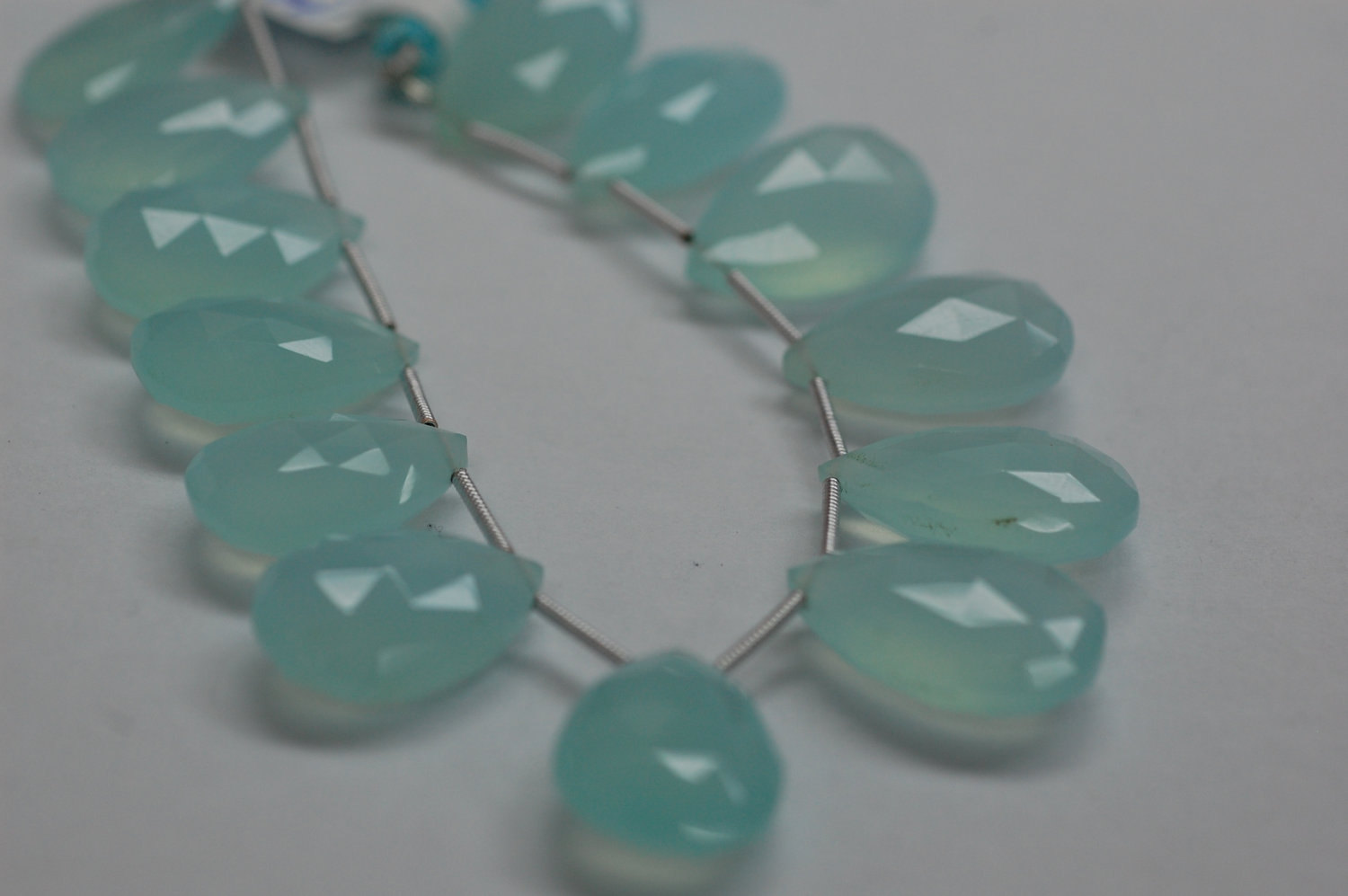 Aqua Chalcedony Pear Faceted Heated