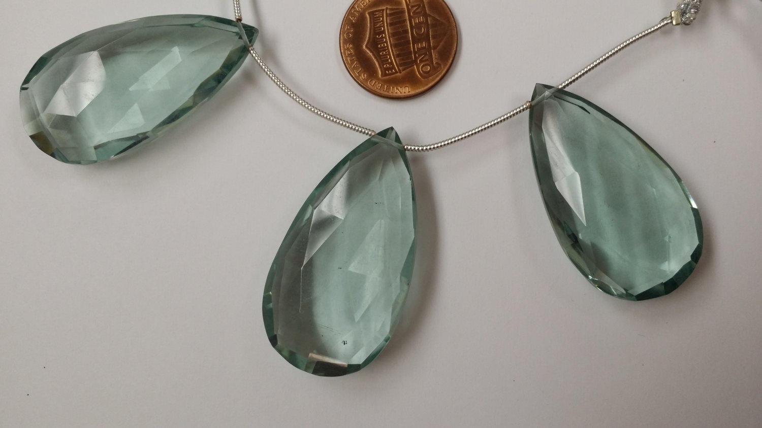 Aqua Clear Green Hydro Quartz Pear Faceted