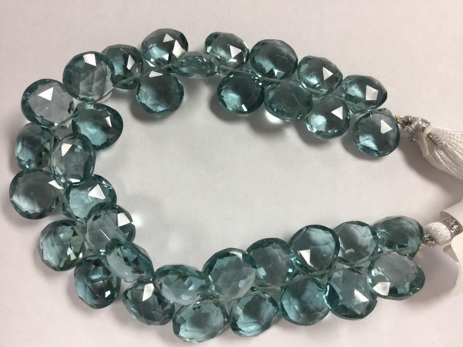 Aquamarine Hydro Quartz Hearts Faceted