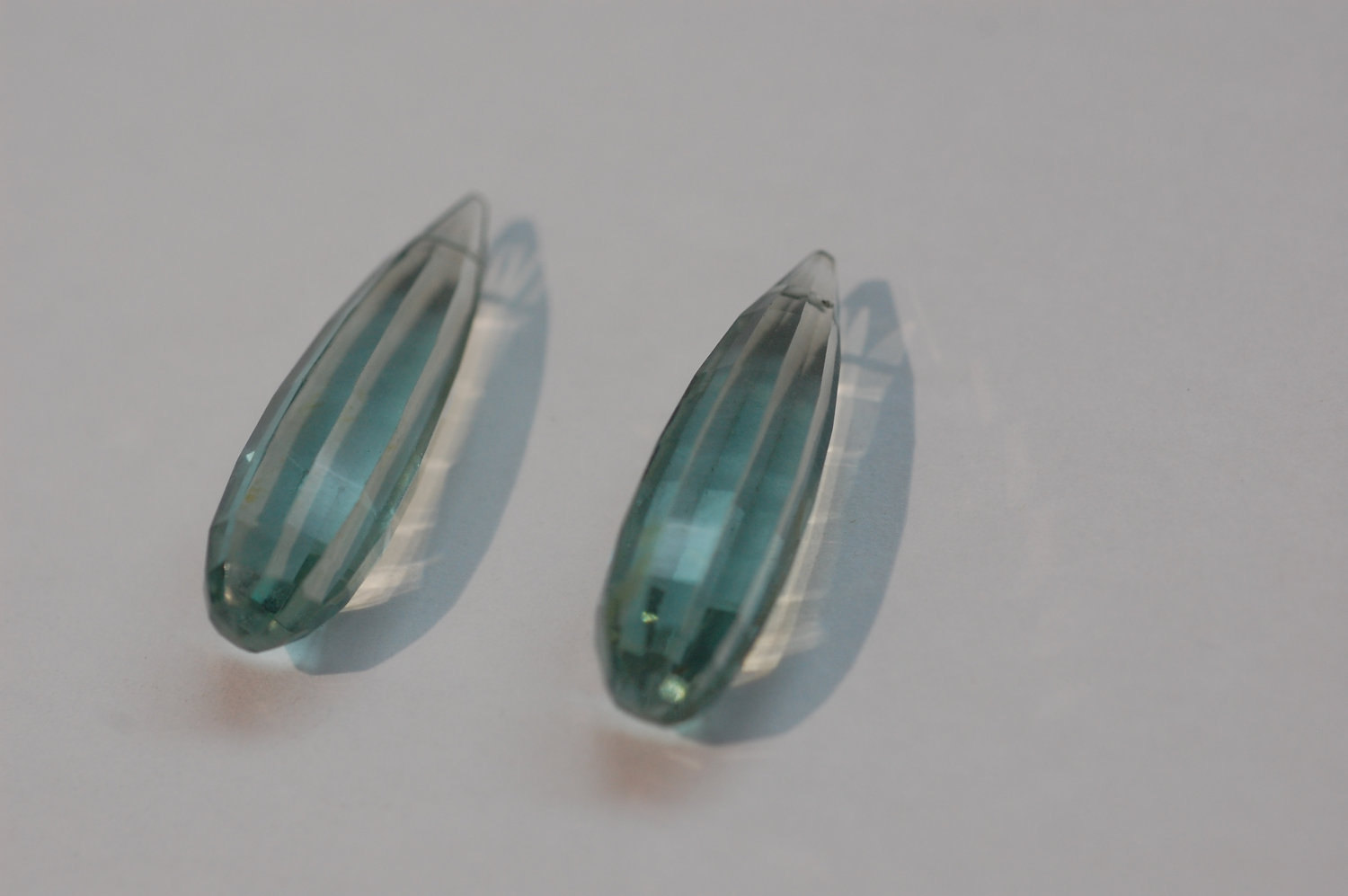 Aquamarine Hydro Quartz Long Drops Faceted