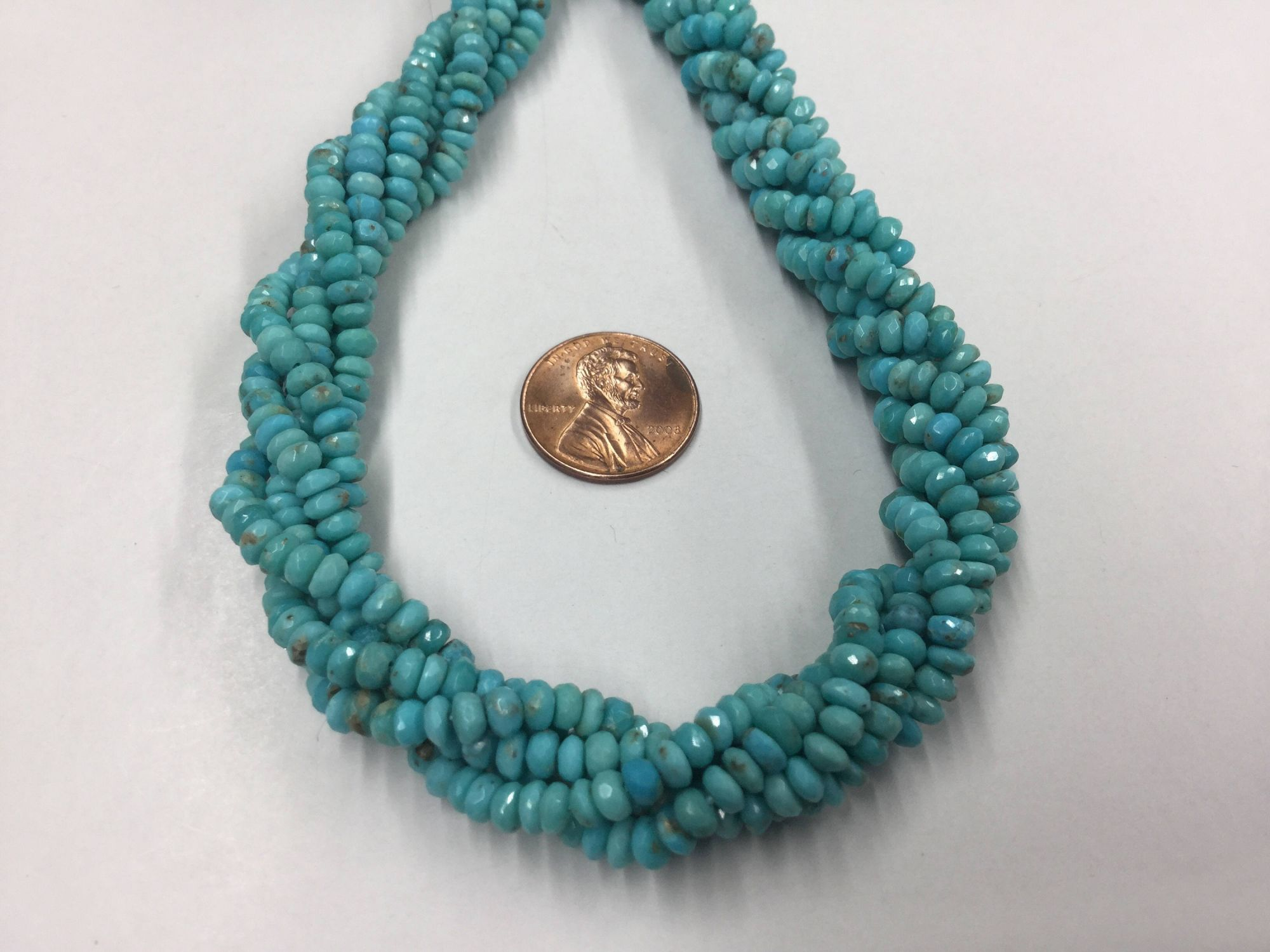 Arizona Sleeping Beauty Turquoise Rondelles Faceted