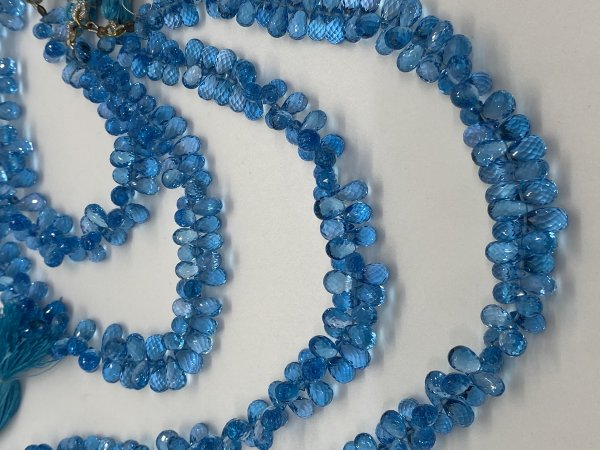 Swiss Blue Topaz Drops Faceted