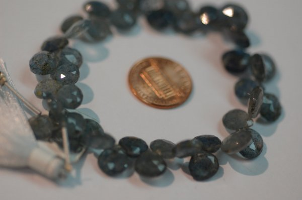 Moss Aquamarine Heart Faceted