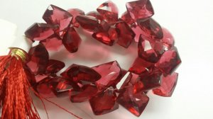 Beautiful Crystal Red Funky Cut Faceted