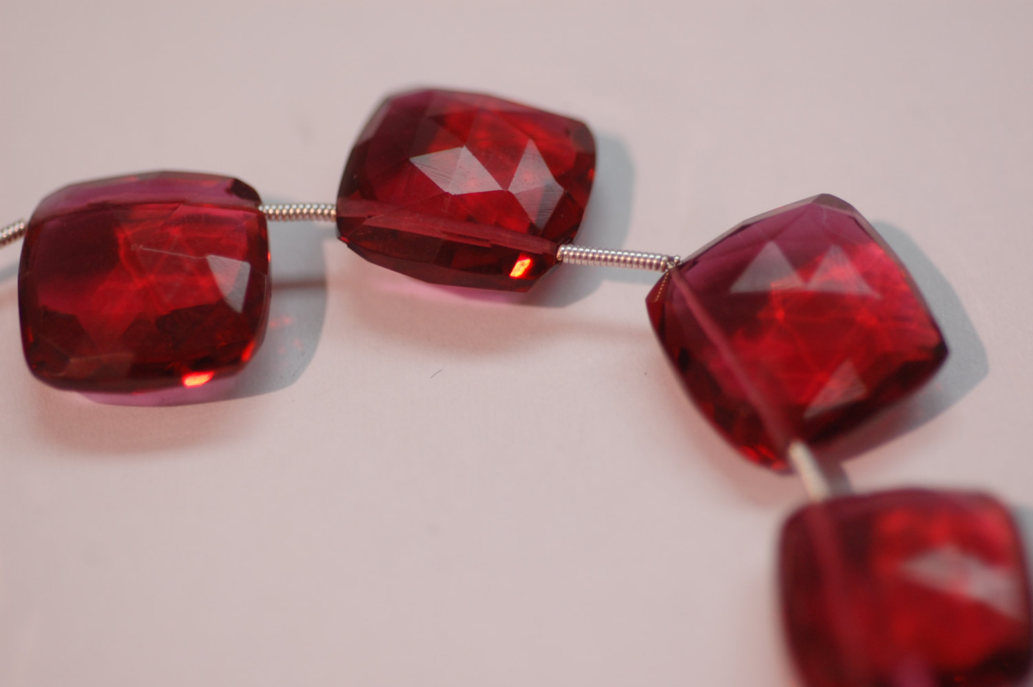 Beautiful Hot Pink Hydro Square Cushion Cut Quartz Faceted