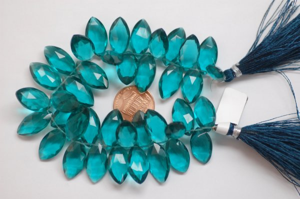 Beautiful Hydro Teal Blue Quartz Marquise Faceted