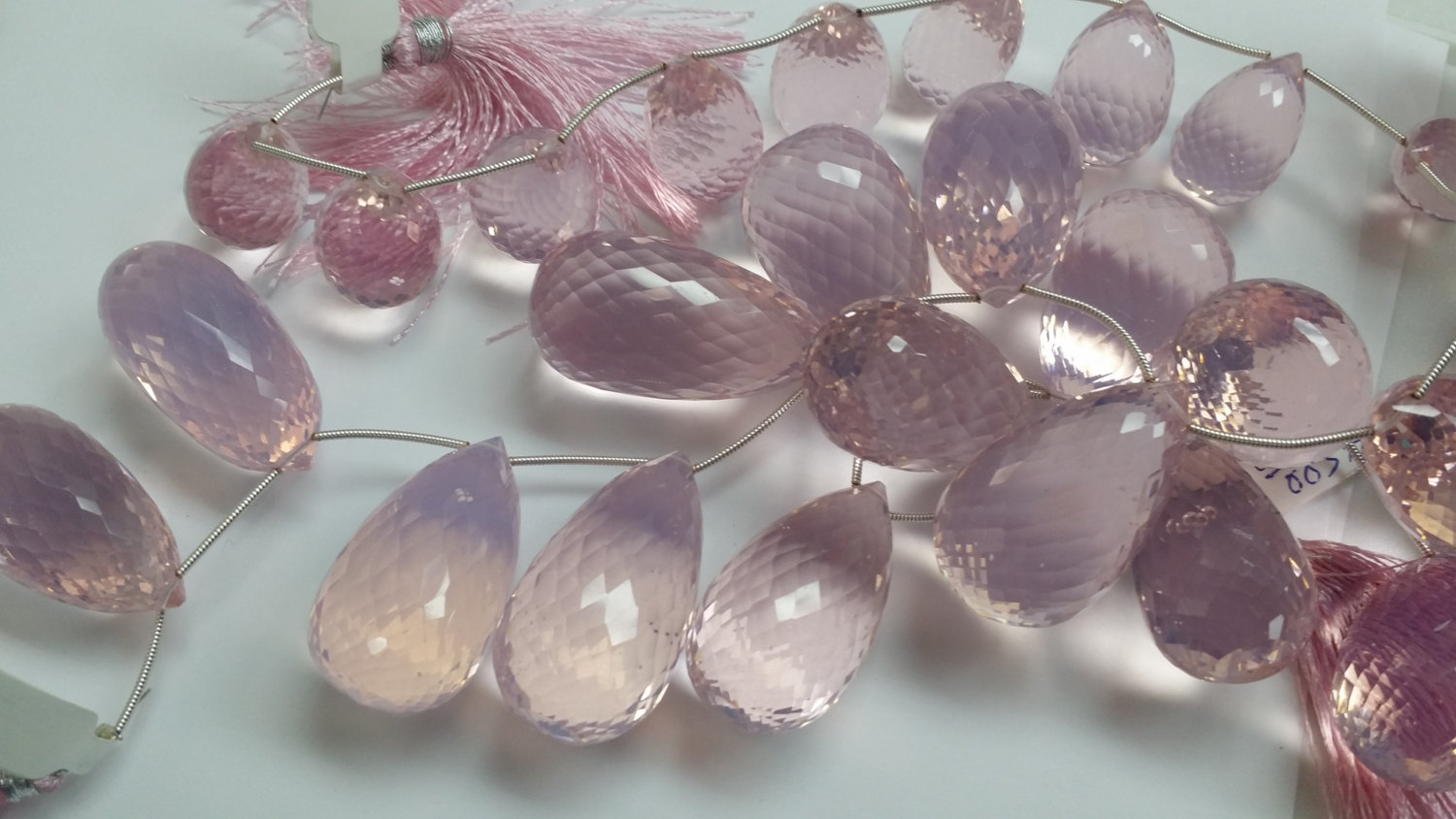 Beautiful Light Pink Hydro Quartz Checker Board Puffed Drops