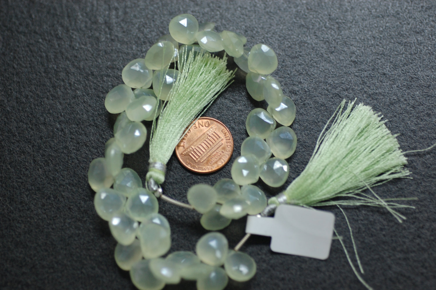 Beautiful Pearl Green Chalcedony Heart Faceted