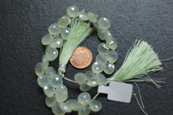 Pearl Green Chalcedony Heart Faceted