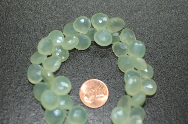 Beautiful Pearl Green Chalcedony Heart Faceted (BIG SIZE)