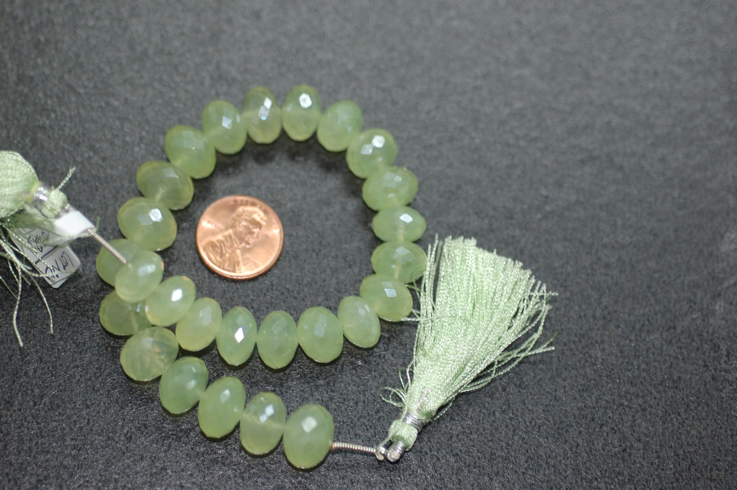 Beautiful Pearl Green Chalcedony Rondelle Faceted