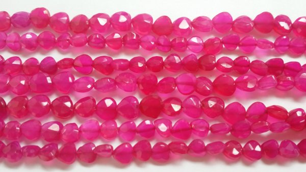 Pink Straight Drilled Chalcedony Hearts