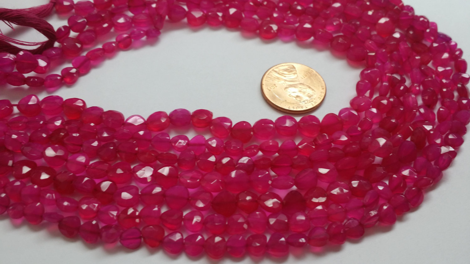 Beautiful Pink Straight Drilled Chalcedony Hearts