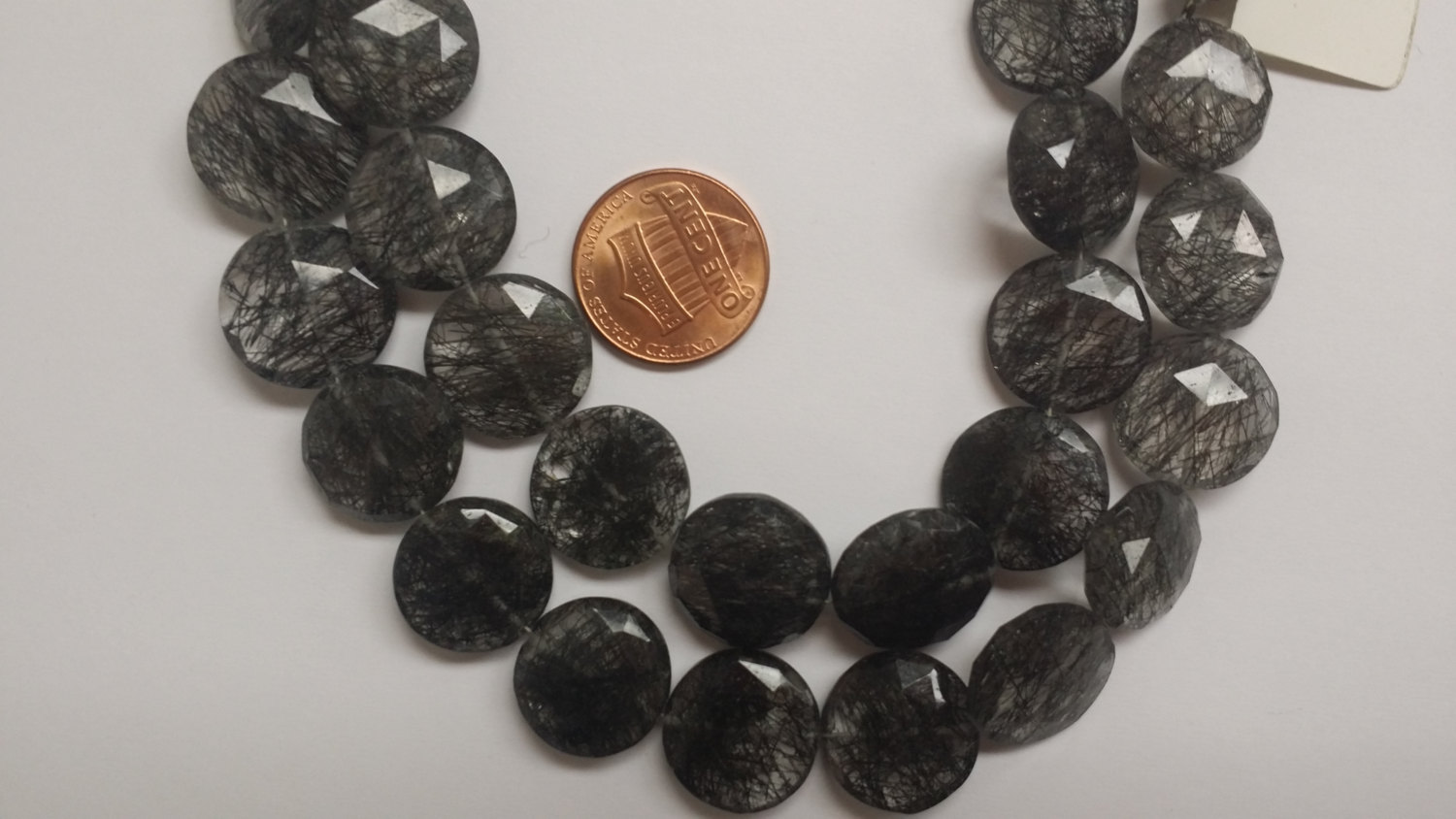 Black Rutilated Coins Faceted