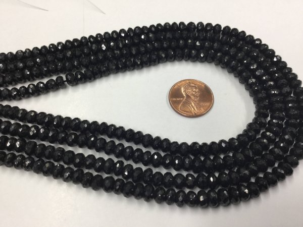 Black Spinal Rondelles Faceted