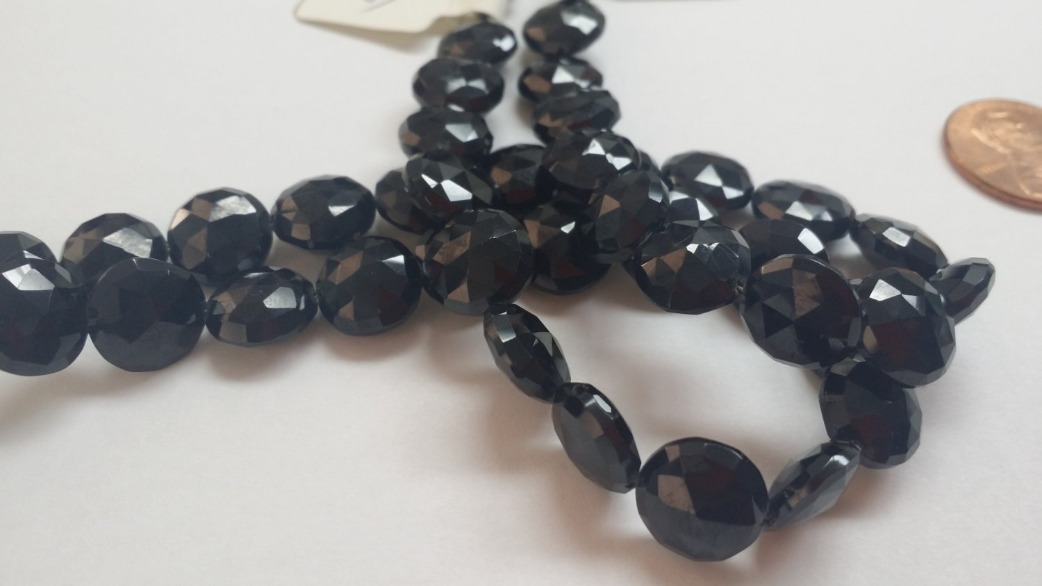 Black Spinel Coins Checkerboard Cut