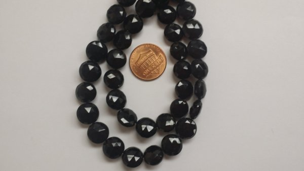 Black Spinel Coins Faceted