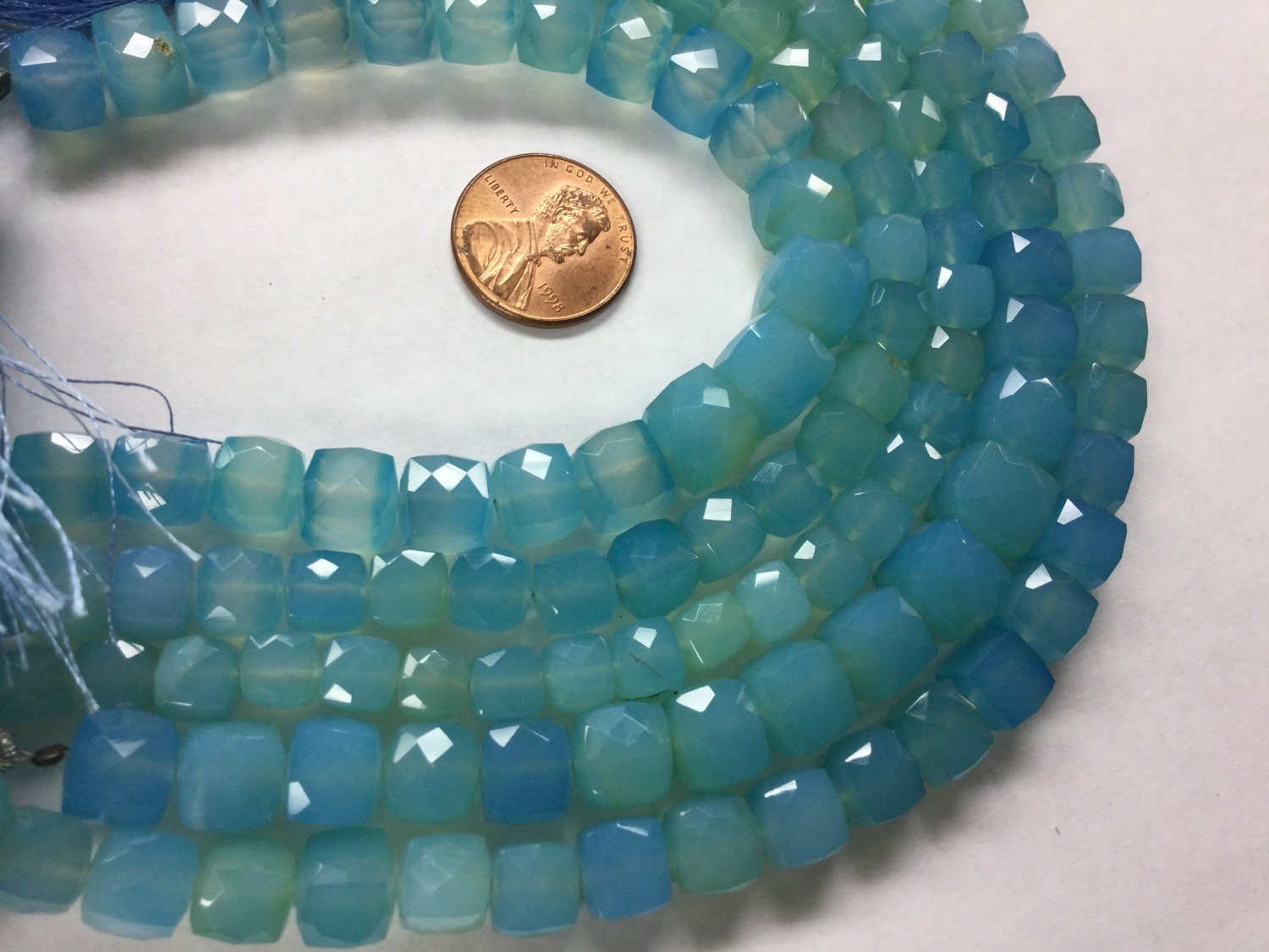 Blue Chalcedony Cubes Faceted