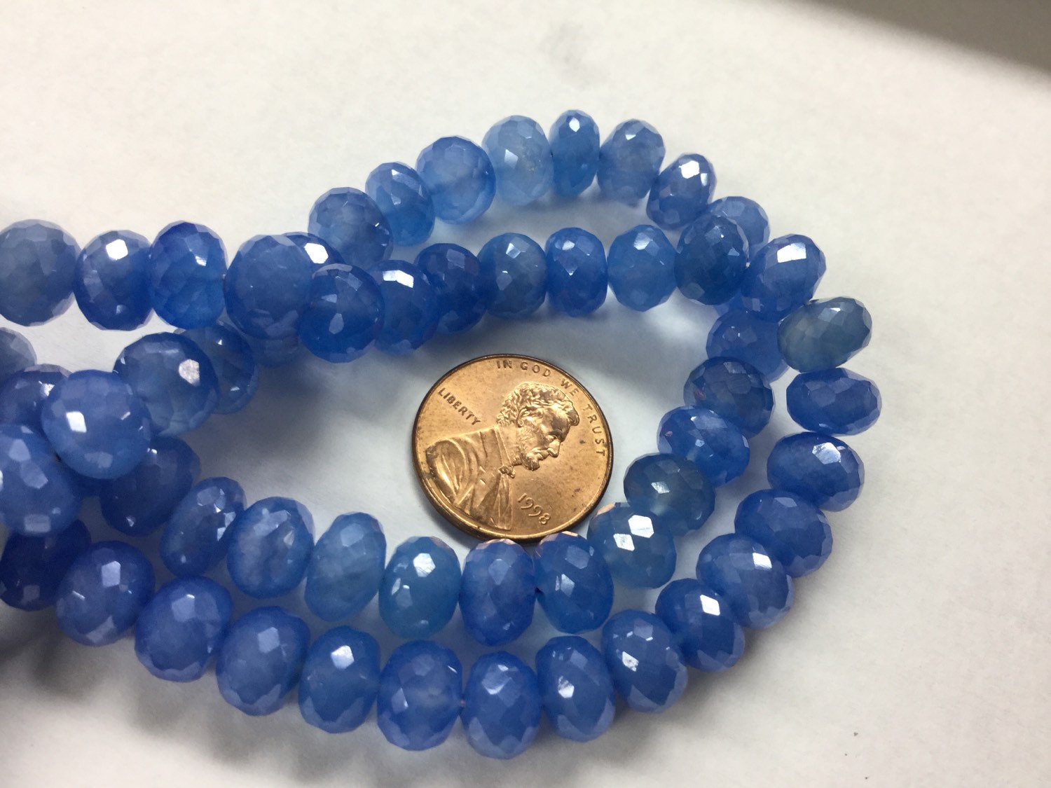 Blue Chalcedony Rondelle Faceted